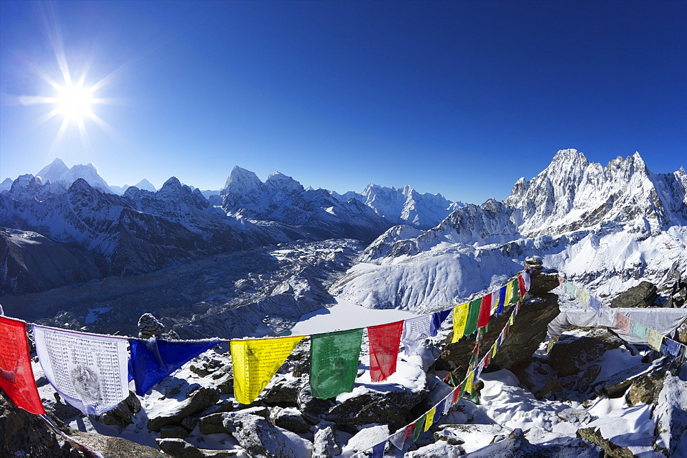 Sunrise on Mount Everest from Gokyo Ri, with Ngozumba Glacier, Dudh Pokhari, Solukhumbu District, Sagarmatha National Park, UNESCO World Heritage Site, Nepal, Himalayas, Asia